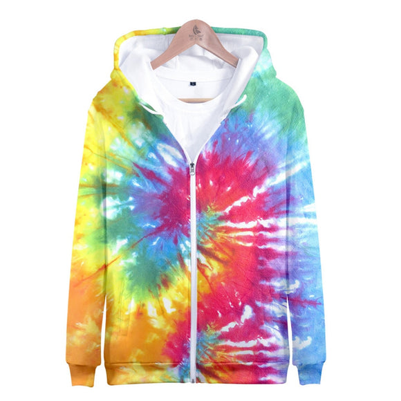 3D Tie Dye Hoodie Men Women Colorful Psychedelic Zipper Hoodies Sweatshirt Harajuku Streetwear Jacket Sweater