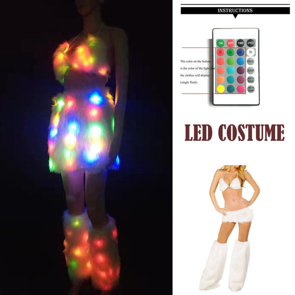 Sexy Women  LED Lighting Luminous Costume 3PC Multicolor Sleeveless Telecontrol Costume Bra Skirt Suit Set Party Clothes