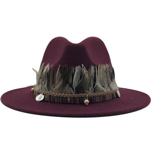 Wool Fedora Hat With feather Gentleman Elegant Lady Wide Brim Panama Sombrero Cap
