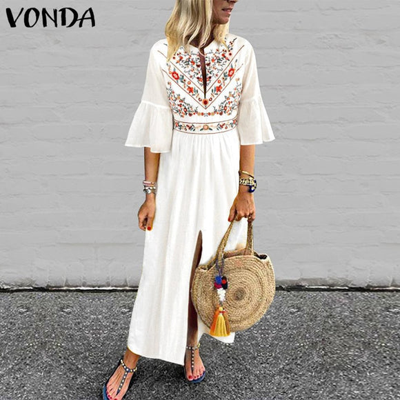 Bohemian Women Vintage Print Dress 2020 VONDA Summer Sundress V Neck Ruffle Sleeve Split Long Dresses Plus Size Casual Vestido