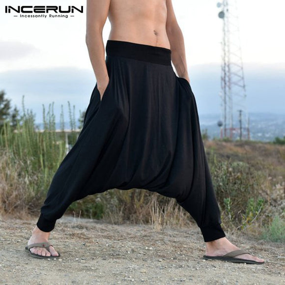 INCERUN Men Harem Pants Baggy Drop-crotch Sweatpants Fashion Trousers Solid Wide Leg Joggers Man Clothing Pantalones Hombre 2020