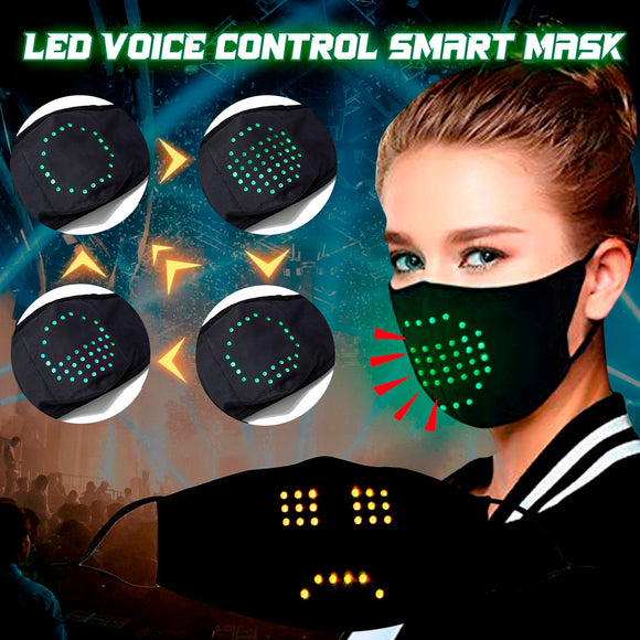 Fashion LED Voice-Activated Luminous Face Mask Masquerade Festival Party Face Masks Breathable Washable маска на рот Cosplay