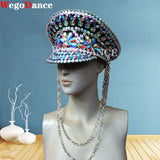 New Women Rhinestone Festival Captain Hat Military Rave Halloween Crystal Costume