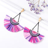 Fan-Shaped Fringe Tassel Earrings (13 Colors)