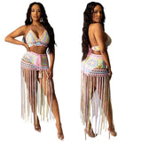 2 Pieces Set Knitted Bra Top Bikini Set Womens Swimsuit Handemade Crochet Bikini Cover Up Tassel Beach Long Wrap Skirt Sarong
