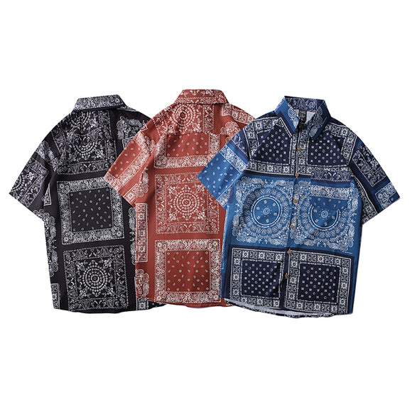 Men shirt Paisley Bandana Check printed Man Shirt Short Sleeve Top Hawaiian Shirt blusas feminina Summer Male Clothes