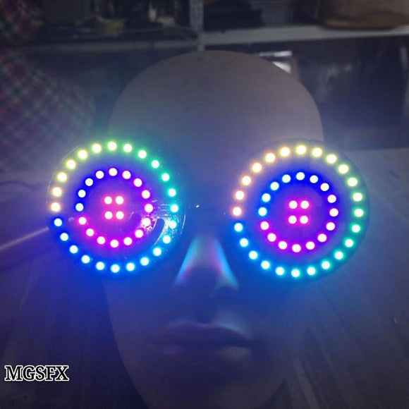 High quality USB recharge Rezz Led glasses Light up Goggles Rainbow Full Color Spectrum Rave Eye Costume night club Party