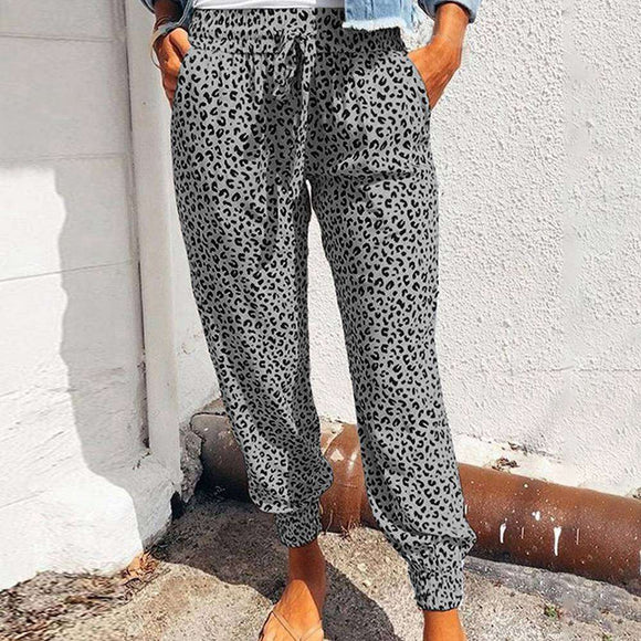 Harajuku Joggers Leopard Print Casual Pants Wide Leg Sweatpants Women Trousers Plus Size High Waist Pants Streetwear