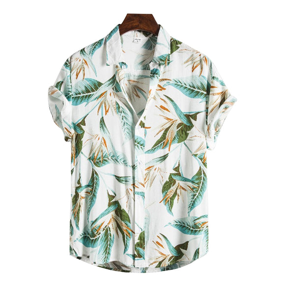Men' s Hawaii Shirt Casual Floral Print Turn-Down Collar Short Sleeve Shirt Men' s Holiday Tops 2020 New