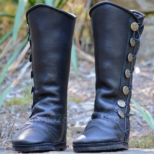 Medieval Retro Women Zipper PU Leather Viking Pirate Boots Retro Botton Men Knight Hunter Carnival Party Cosplay Shoes Steampunk