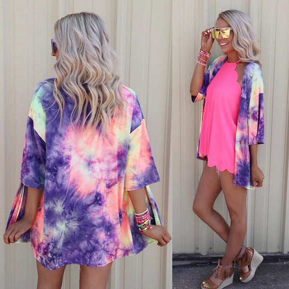 Women Printing Cover-Ups Tie-Dye Rainbow Multicolor Beach Kimono Long Cardigan Blouse Shawl Smock Tops beachwear pareo