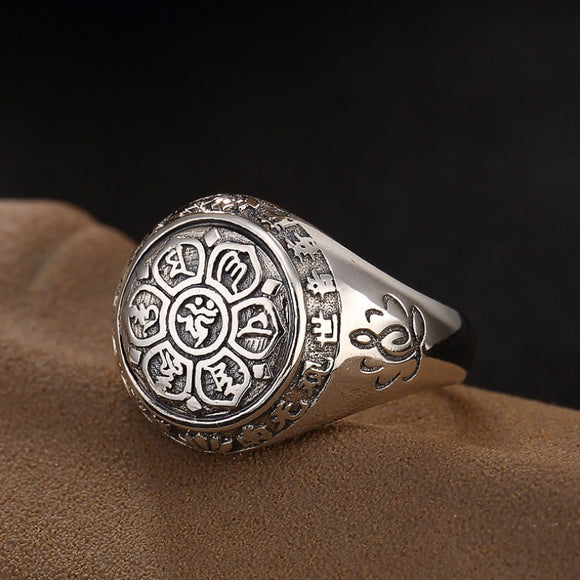 Pure silver Six Words' Mantra Fashion Ring men women Real silver Buddhism Retro Rings for Couple 925 silver ring Jewelry gift