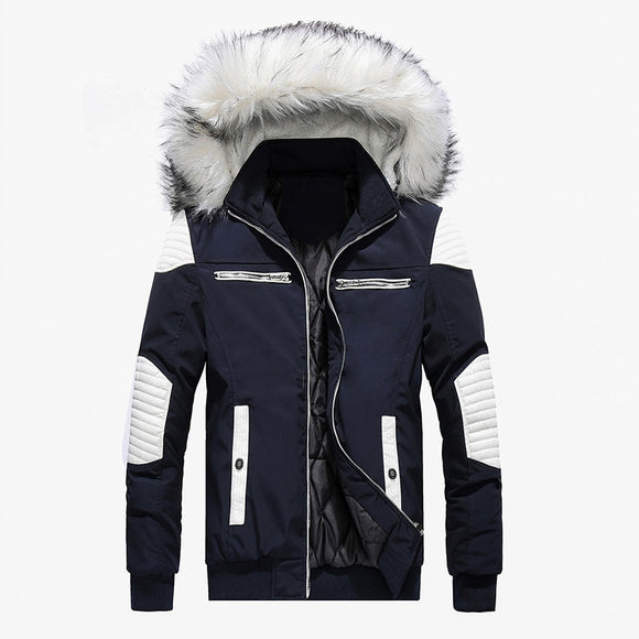 Spring Autumn Jacket Men Clothes 2020 Casual Thicken Warm Parkas Streetwear Fake Fur Collar Hooded Jackets And Coats Men Outwear