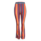 Rainbow Striped Bright Women Long Pants High Waist Harajuku Flare Pants Sexy Women Casual Slim Trousers Streetwear Rave Festival Fall