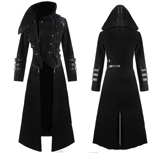 Steampunk Goth Long Trench Top Coat Men Military Peacoat High Collar Hooded Jacket Halloween Assassin Costume For Men 4XL 5XL