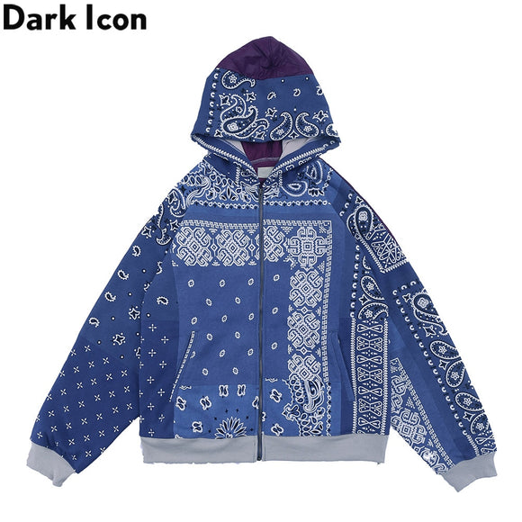 Dark Icon Bandana Cardigan Sweatshirts with Hoodie Men Women Streetwear Paisley Print Hooded Man