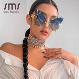 Sen Maries Butterfly Rimless Sunglasses Women Luxury Brand Designer Fashion Oversized Steampunk Sunglasses Vintage Eyewear UV400