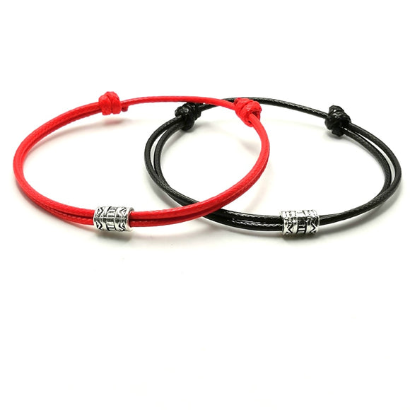 Adjustable Black Red Leather Rope Bracelet Couple Jewelry Handmade Braided Charm Bracelet Women Men Thread Jewelry Gift
