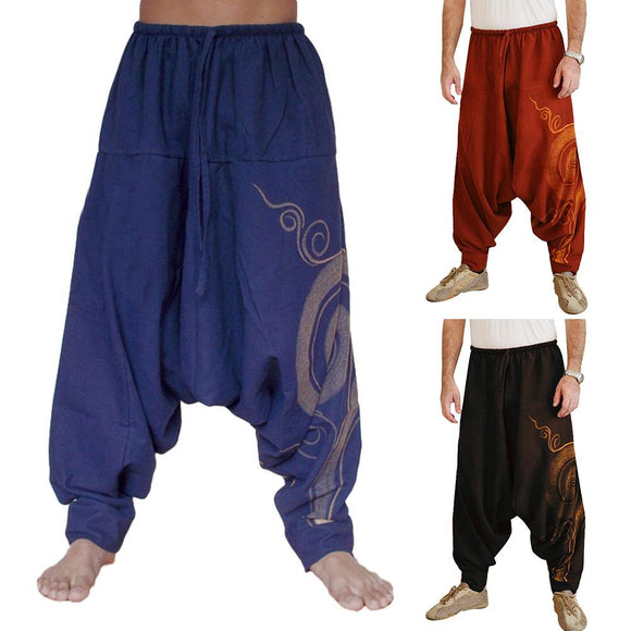 Men Stylish Drawstring Drop Crotch Ankle Tied Baggy Trousers Long Harem Pants