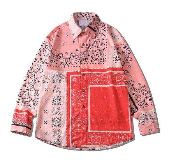 Dark Icon Pink Bandana Shirt Long Sleeve Autumn Street Fashion Men's Blouse Male Top