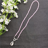JCYMONG 2019 Trendy Silver Color Sea Shell Long Pendant Necklace For Women Fashion Colorful Beads Choker Necklace Party Jewelry