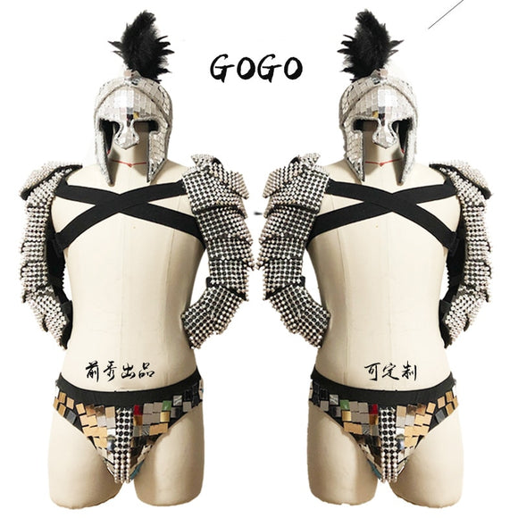 2020 Festival Outfit Men Roman Knights Cosplay Costume GoGo Dancer Costume Party Stage Handmade Mirror Costume Nightclub VDB742