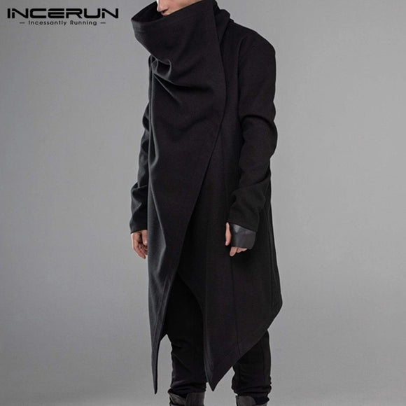 INCERUN Men Cloak Coats Streetwear Turtleneck Solid Long Sleeve Fashion Men Cape Outerwear Punk Style Irregular Jackets S-5XL 7