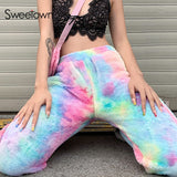 Sweetown Winter Fashion Casual Faux Fur Woolen Warm Harem Pants Women Streetwear Tie Dye Print Pockets High Waist Baggy Trousers
