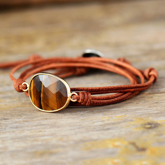 Tiger Eye Charm Leather Wrap Adjustable Bracelet