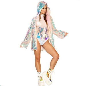Rave Party LED Light Up Sequined Jacket for Women Cute Girls Sequin Rainbow Colorful Light Up LED Hooded Jackets Plus Size