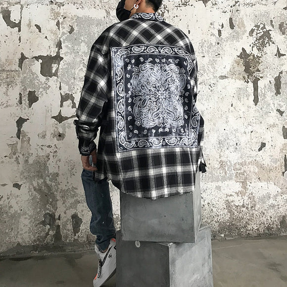 Dark Icon Bandana Plaid Street Shirt Men Long Sleeve Checkered Hip Hop Men's Shirts Streetwear Clothes