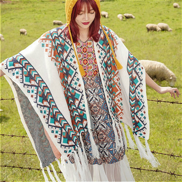 TEELYNN Bohemian Autumn Scarf Women 2021 Vintage Ethnic Knit Warm Shawl Cardigan Wraps White/Black Boho Scarf Cape Cloak Coat