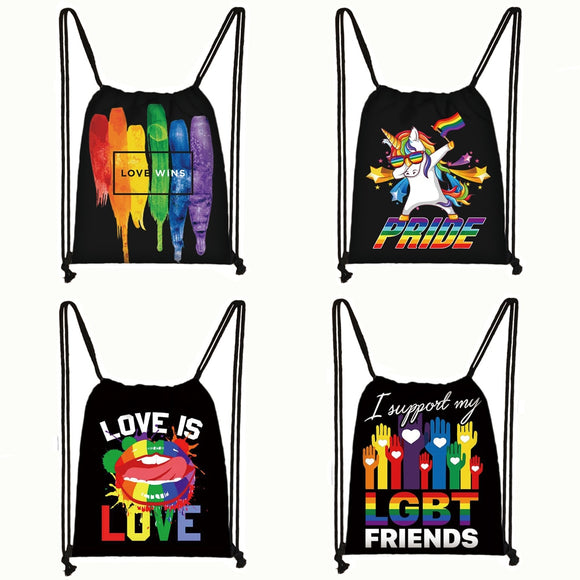 LGBTQ+ Pride Love Wins Backpacks Lgbt Gay Lesbian Drawstring Bag Man and Women Backpack Dab Rainbow Unicorn Storage Bags Gift