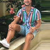 INCERUN Men Striped Shirt Colorful Lapel Short Sleeve Summer Casual Hawaiian Shirts Beach Streetwear Breathable Camisa Masculina