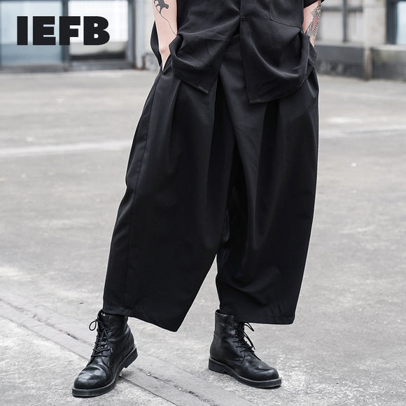 IEFB /men's wear black japan style loose pleated straight male's casual pants elastic waist comfortable cross pants new 9Y2497