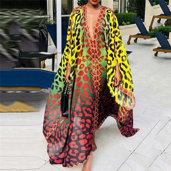 Vibrant Color Leopard Print Bach Cover Up Kaftan Summer Dress
