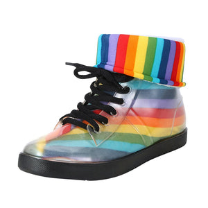 Women's Rainbow Ankle Rain Boots Removable Cover Platform Lace Up PU Waterproof Motorcycle Colorful Ankle Boots Woman Shoes
