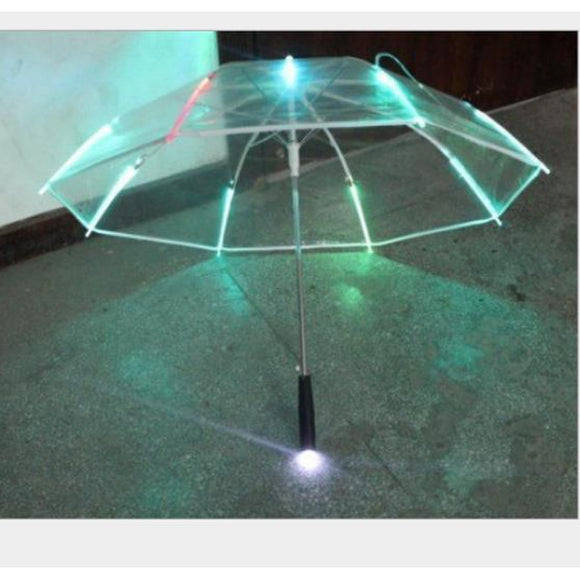 Cool Umbrella With LED Features 8 Transparent Rib Light With Flashlight Handle /BY
