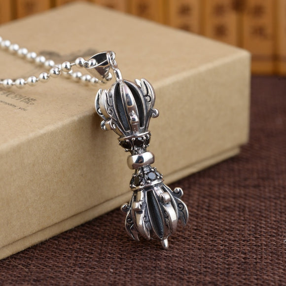 Real Silver Vajra Pendant Men S925 Sterling Silver Personality Vajra Pendnat Jewelry Gift Male