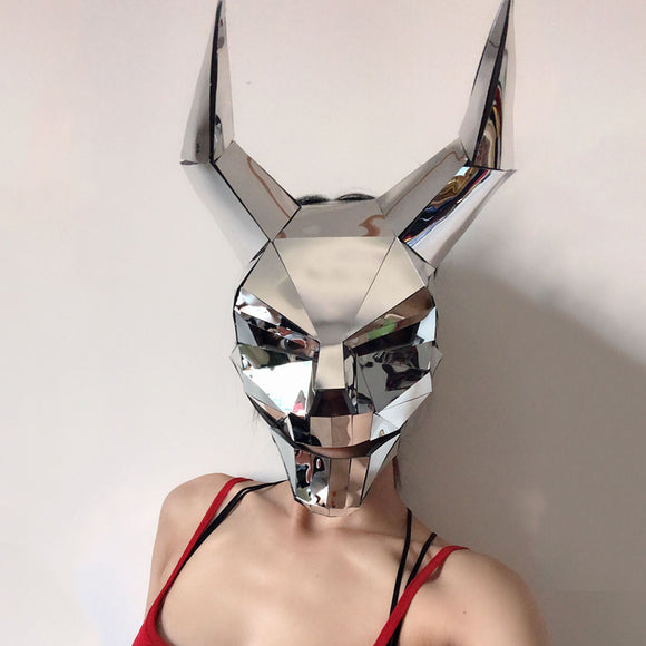 Rave Masked Party Silver Mirror Mask Cosplay Ghost Festival Outfit Nightclub Accessories DJ Mask Stage Costumes For Singers