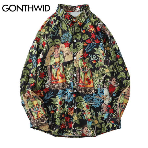 GONTHWID Hawaiian Beach Shirts Leaf Flowers Floral Print Long Sleeve Aloha Party Holiday Shirt Streetwear Mens 2020 Hip Hop Tops