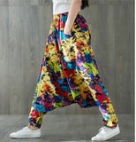 Plus Size Loose Cotton Linen Print Drop Crotch Harem Pants Bloomers Lantern Trousers Aladdin Indian Nepal Baggy Pants GD738