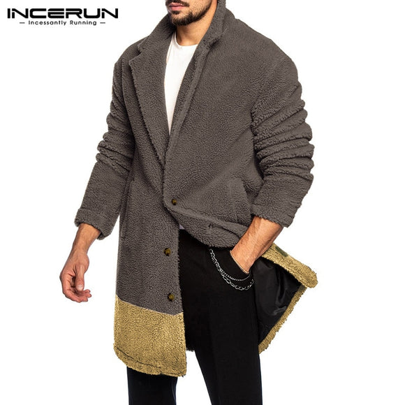 INCERUN Winter Fashion Men Coats Patchwork Lapel Long Sleeve 2020 Faux Fleece Casual Button Trench Outerwear Fluffy Warm Jackets