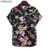 Stylish Floral Print Cotton Linen Shirt Men 2020 Fashion Stand Collar Dress Shirts Mens Short Sleeve Casual Shirt Male Chemise