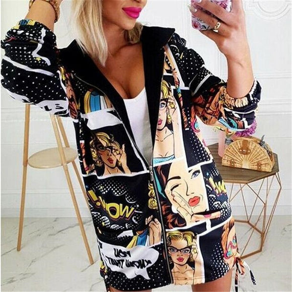 Hot Women's Autumn Vintage Printes Zipper Jacket Loose Vintage Long Coat Jacket Sexy Female Long Sleeve Tops Outwear Overcoat