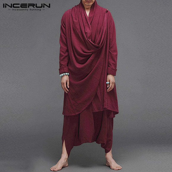 INCERUN Men Sets Cotton Streetwear 2020 Solid Long Sleeve Turtleneck Irregular Cloak Coats Drop Crotch Pants Vintage Mens Suits
