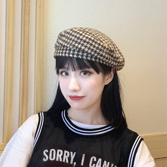 H3538 Women Beret Hat Lady Fashion Korean Plaid Flat Top Casual Girl Cap Autumn Winter Retro Painter Simple Shopping Female Hats