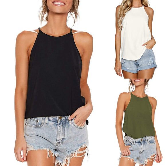 Women Tank Top Woman Halter Top Plus Size Summer Sexy O Neck Sleeveless Tops Vest Female 2020 OL Shirt Tops Women