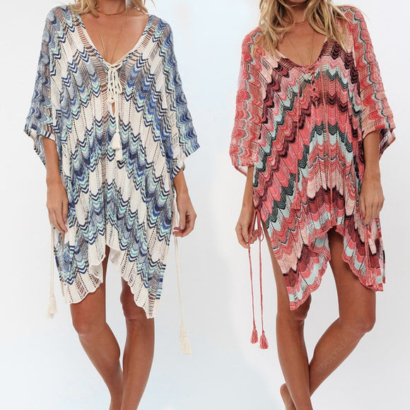 Oversize Crochet Beach Dress Cover up Sarong Kaftan Beach Tunic Plage Bathing suit cover ups Pareo Beach Bikini Cover up #Q828