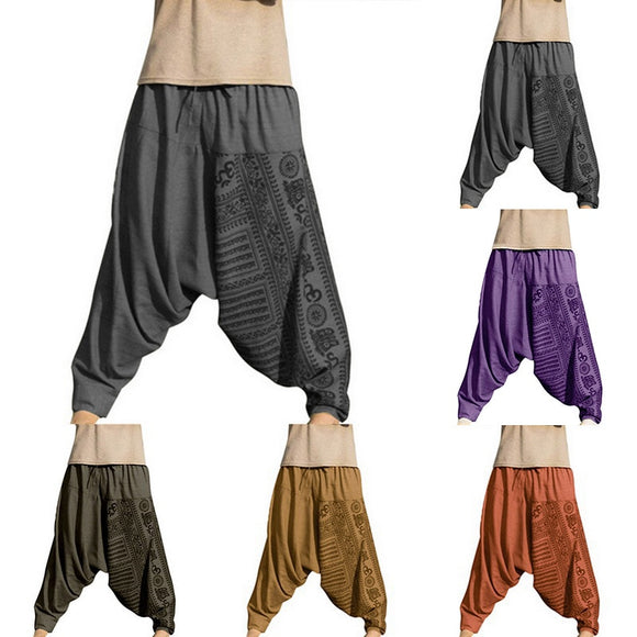 2020 Vintage Men Harem Pants Drop Crotch Hip Hop Pants Print Pencil Sweatpants Casual Loose Retro Costume Trousers Wid